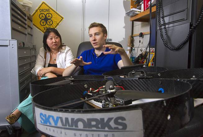 Skyworks founders Jinger Zeng and Greg Friesmuth respond to a question during an interview in a drone testing lab at UNLV Tuesday, May 6, 2014.