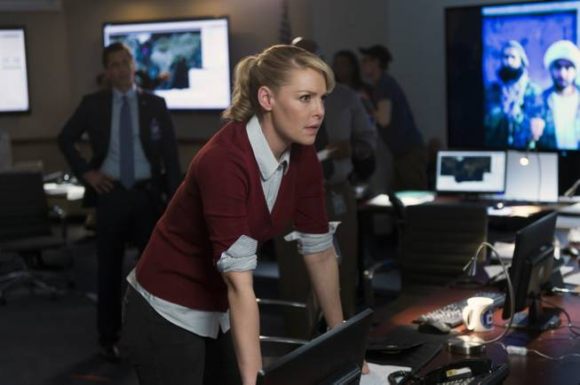 "In this photo provided by NBC, Katherine Heigl portrays CIA agent Charleston Tucker in NBC's new series, ""State of Affairs."""