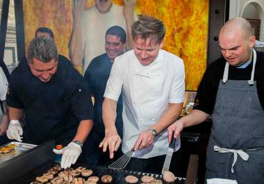 Gordon Ramsay mans the grill at the Grand Tasting of 2014 Vegas Uncork'd by Bon Appetit on Friday, May 9, 2014, at Garden of the Gods in Caesars Palace.