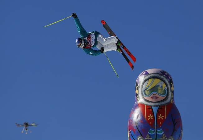 A drone camera captures Australia's Russell Henshaw jumping during the men's ski slopestyle final at the Rosa Khutor Extreme Park, at the 2014 Winter Olympics, Thursday, Feb. 13, 2014, in Krasnaya Polyana, Russia.