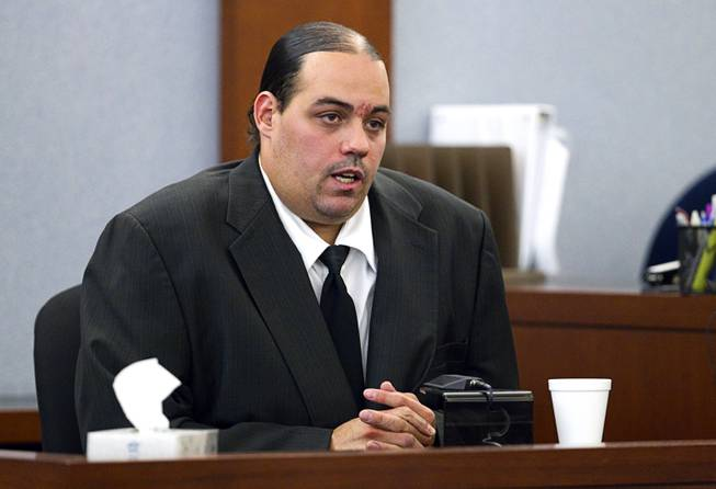 "Louis Colombo, 35, a former housemate of Jason Omar Griffith, testifies during Griffith's trial at the Regional Justice Center Tuesday, May 13, 2014. Colombo testified he helped Griffith dispose of the body of Luxor ""Fantasy"" dancer Deborah Flores Narvaez in 2010."