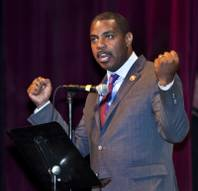 Congressman Steven Horsford responds to a statement on immigration during the Nevadans for the Common Good second community convention at the Cashman Center on Tuesday, May 13, 2014.