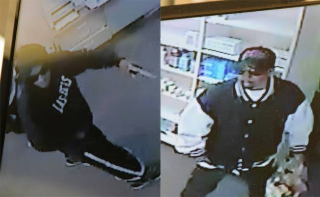 North Las Vegas Police are looking to the public for help in identifying these two men, sought in connection with an armed robbery of a pharmacy on April 29. The two are pictured as captured on surveillance cameras in the pharmacy.