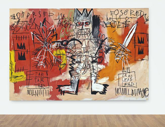 This undated photo provided by Christie's shows Jean-Michel Basquiat untitled 1981 painting of a regal warrior figure. It is among other big-ticket items coming up for auction Tuesday, May 13, 2014, at Christie's in New York.