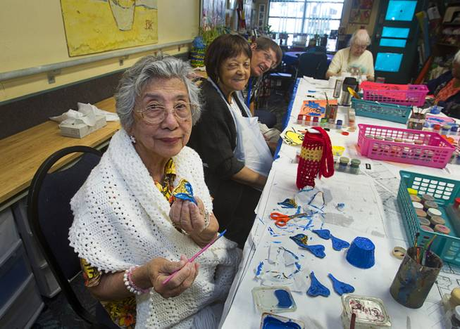 Marcelina Martin works on an art project at the Nevada Senior Services Adult Day Care Center of Las Vegas, 901 N. Jones Blvd., Wednesday, May 14, 2014.