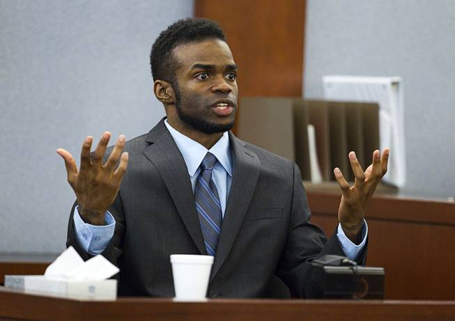 "Defendant Jason Omar Griffith testifies in his own defense during his trial at the Regional Justice Center Wednesday, May 14, 2014. Griffith is accused of murdering Luxor ""Fantasy"" dancer Deborah Flores Narvaez in December 2010."