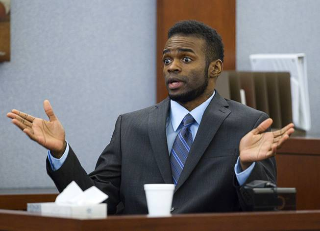 "Defendant Jason Omar Griffith speaks to the jury as he testifies in his own defense during his trial at the Regional Justice Center Wednesday, May 14, 2014. Griffith is accused of murdering Luxor ""Fantasy"" dancer Deborah Flores Narvaez in December 2010."