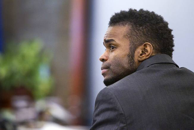 "Defendant Jason Omar Griffith is shown during a break in his trial at the Regional Justice Center Wednesday, May 14, 2014. Griffith is accused of murdering Luxor ""Fantasy"" dancer Deborah Flores Narvaez in December 2010."