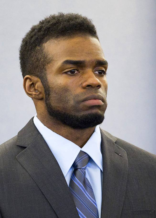 "Defendant Jason Omar Griffith is shown during his trial at the Regional Justice Center Wednesday, May 14, 2014. Griffith is accused of murdering Luxor ""Fantasy"" dancer Deborah Flores Narvaez in December 2010."