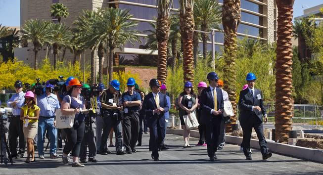 "Developers lead a media ""hard hat"" tour of the new Downtown Summerlin project as construction continues on Thursday, May 15, 2014."