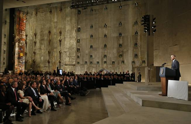 President Barack Obama speaks at the dedication ceremony for the National September 11 Memorial Museum on Thursday, May 15, 2014, in New York.