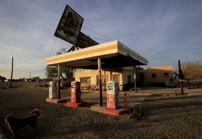 "Businesses are abandoned along ""America's Highway,"" Route 66, in Newberry Springs, Calif. As the number of tourists attracted by the historic roadway dwindle, merchants along the route must find new ways to attract visitors."