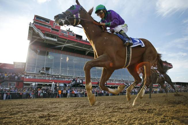 California Chrome, ridden by jockey Victor Espinoza, wins the 139th Preakness Stakes horse race at Pimlico Race Course on May 17, 2014, in Baltimore.