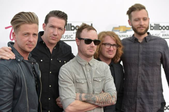 Ryan Tedder, Zach Filkins, Eddie Fisher, Drew Brown and Brent Kutzle of OneRepublic  arrive at the 2014 Billboard Music Awards at MGM Grand Garden Arena on Sunday, May 18, 2014, in Las Vegas.
