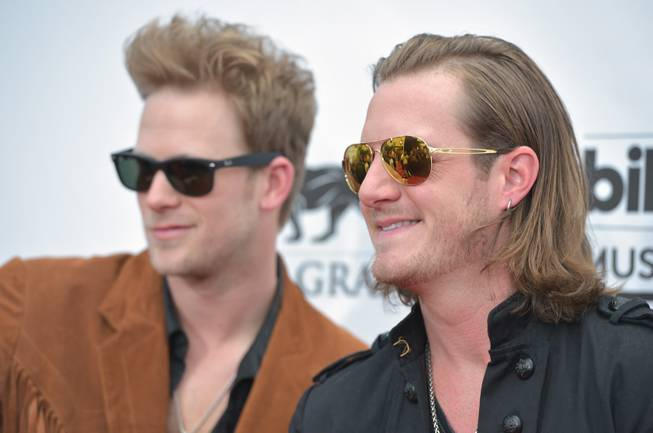 Brian Kelley and Tyler Hubbard of Florida Georgia Line arrive at the 2014 Billboard Music Awards at MGM Grand Garden Arena on Sunday, May 18, 2014, in Las Vegas.