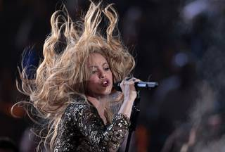 Colombian singer Shakira performs during the 2014 Billboard Music Awards at the MGM Grand Garden Arena Sunday, May 18, 2014.