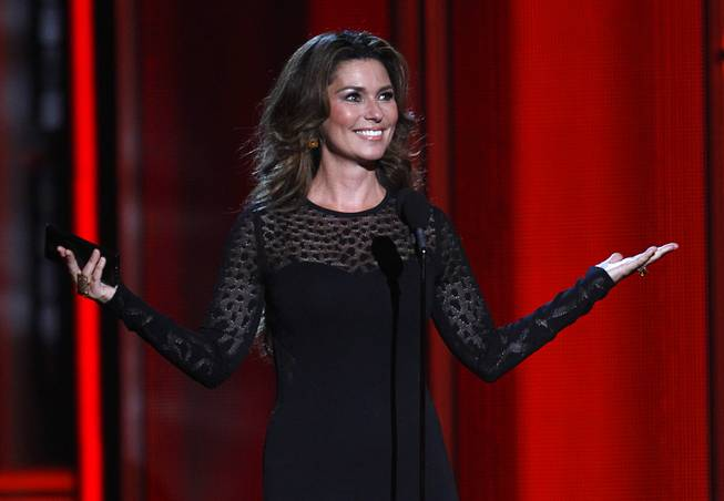 Shania Twain introduces the nominees for Top Rock Album during the 2014 Billboard Music Awards at MGM Grand Garden Arena on Sunday, May 18, 2014.
