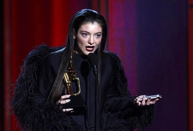 "Lorde, 17, of New Zealand accepts the award for top rock song for ""Royals"" during the 2014 Billboard Music Awards at the MGM Grand Garden Arena Sunday, May 18, 2014. Lorde also won for Top New Artist."