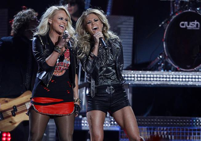 Miranda Lambert and Carrie Underwood perform during the 2014 Billboard Music Awards at MGM Grand Garden Arena on Sunday, May 18, 2014.