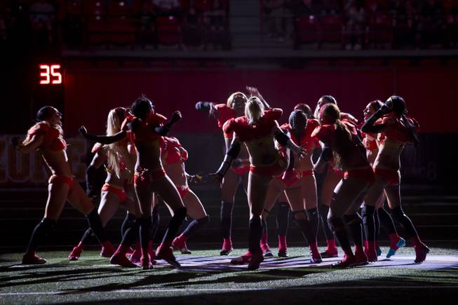 The Las Vegas SIN makes their grand enterance on the field before going against Green Bay Chill, Thursday May 15, 2014. The SIN beat Green Bay 34 to 24 at Thomas & Mack Center, their first win of the Legends Football League season.