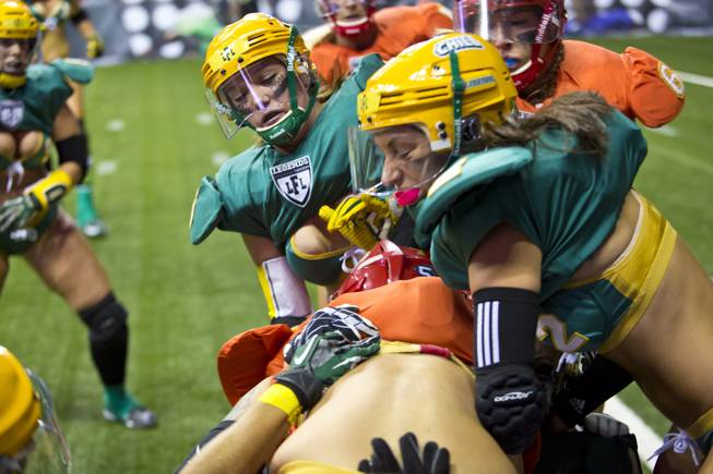 Green Bay Chill clashes with Las Vegas SIN during their game at Thomas & Mack Center, Thursday May 15, 2014. The SIN beat Green Bay 34 to 24, their first win of the Legends Football League season.