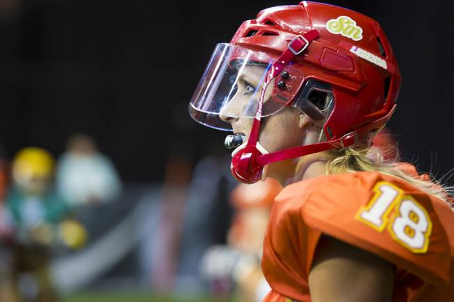 Cynthia Schmidt of the Las Vegas Sin looks at the scoreboard after scoring a touchdown against the Green Bay Chill on Thursday, May 15, 2014. The Sin beat Green Bay 34-24 at the Thomas & Mack Center, their first win of the Legends Football League season.