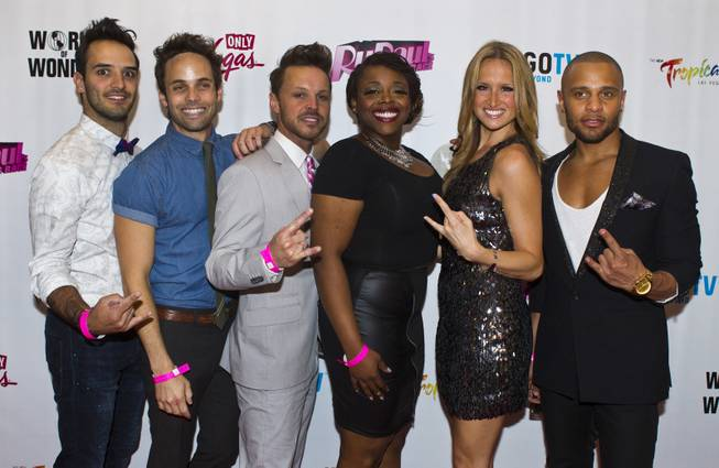 "The cast of Rock of Ages on the Red Carpet for ""RuPaul's Drag Race"" at the Season 6 Finale Viewing Party featuring a live screening of the show at The New Tropicana on Monday, May 19, 2014."