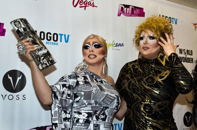 "India Ferrah and Mimi Imfurst pose together on the Red Carpet for ""RuPaul's Drag Race"" at the Season 6 Finale Viewing Party featuring a live screening of the show at The New Tropicana on Monday, May 19, 2014."