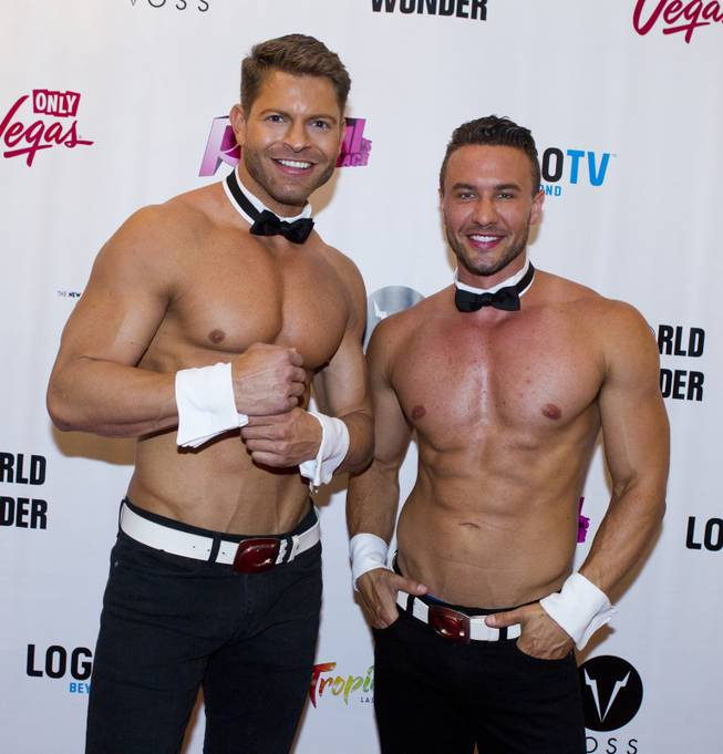 "Jaymes Vaughan and Ryan Stuart of Chippendales stand on the Red Carpet for ""RuPaul's Drag Race"" at the Season 6 Finale Viewing Party featuring a live screening of the show at The New Tropicana on Monday, May 19, 2014."