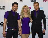 "Nick San Pedro, Derrick Barry and Mackenzie Claude on the red carpet for ""RuPaul's Drag Race"" at the Season 6 finale viewing party Monday, May 19, 2014, at the Tropicana."