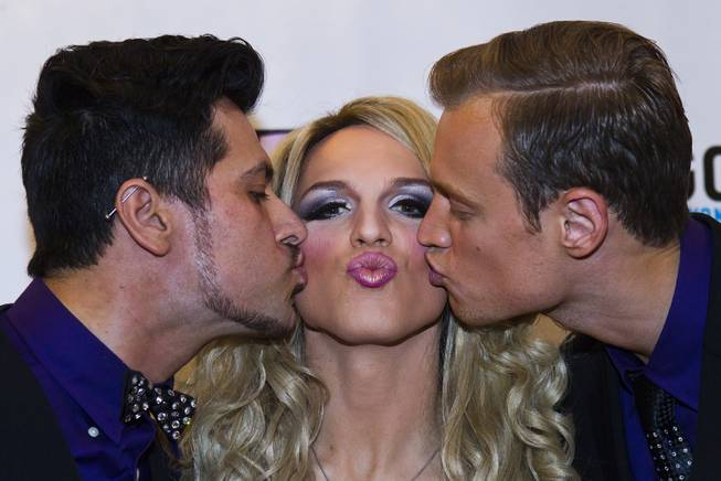 "Nick San Pedro, Derrick Barry and Mackenzie Claude kiss on the Red Carpet for ""RuPaul's Drag Race"" at the Season 6 Finale Viewing Party featuring a live screening of the show at The New Tropicana on Monday, May 19, 2014."