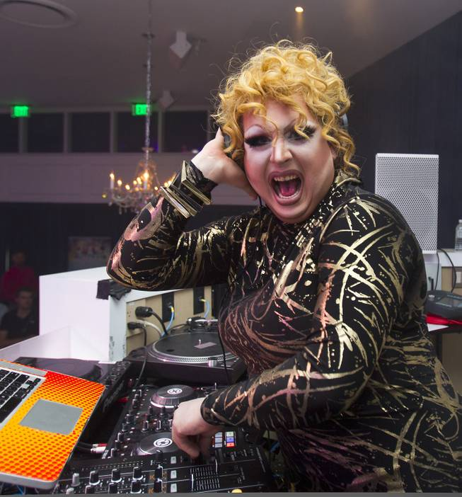 "Mimi Imfurst enjoys some time in the DJ booth for ""RuPaul's Drag Race"" at the Season 6 Finale Viewing Party featuring a live screening of the show at The New Tropicana on Monday, May 19, 2014."