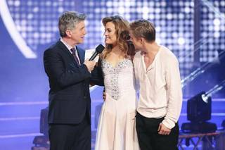 "Tom Bergeron, Amy Purdy of Las Vegas and Derek Hough on Season 18 of ABC's ""Dancing With the Stars"" on Monday, May 19, 2014."