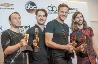 Imagine Dragons backstage in the media room of the 2014 Billboard Music Awards at MGM Grand Garden Arena on Sunday, May 18, 2014, in Las Vegas.