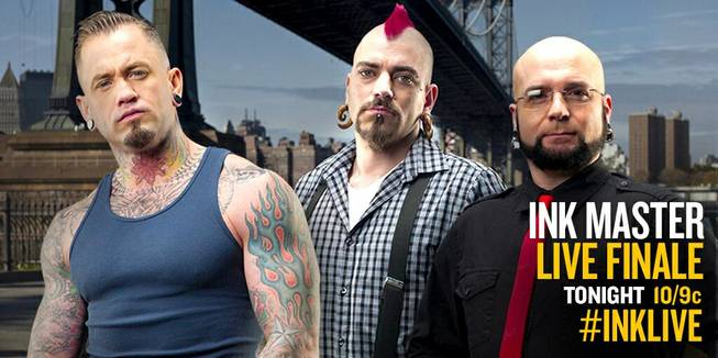 "Scott Marshall, Matt Hixson and Walter Frank of Las Vegas are competing in the Season 4 finale of ""Ink Master"" on Spike TV on Tuesday, May 20, 2014."
