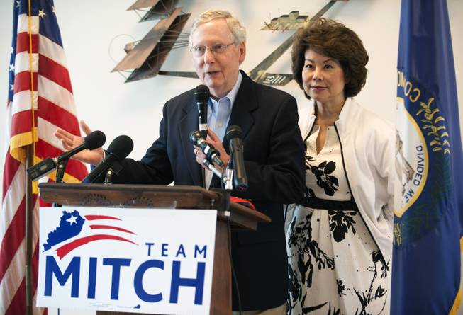 Senate Minority Leader Mitch McConnel speaks to supporters Monday, May 19, 2014, at a fly-in at the Bowling Green-Warren County Regional Airport in Bowling Green, Ky.