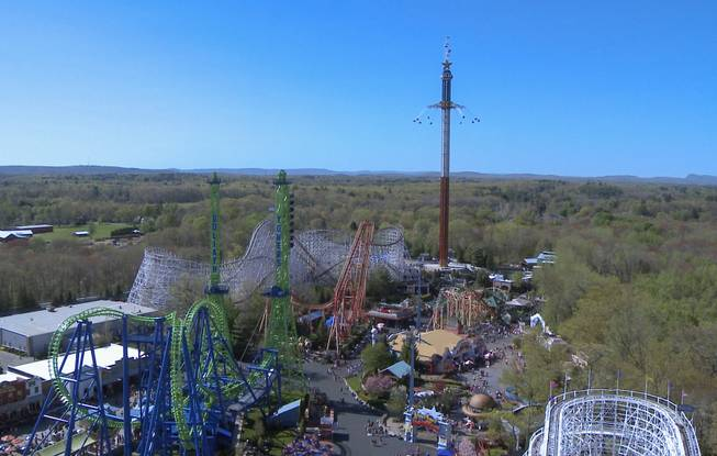 This undated image released by Six Flags New England shows The New England SkyScreamer, the tallest swing ride at Six Flags New England in Agawam, Mass.