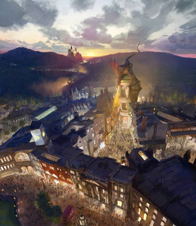 This artist rendering provided by NBC Universal shows the new Harry Potter-themed area of the Universal theme park in Orlando, Fla., which was inspired partly by the fictional Diagon Alley from the Harry Potter books and movies. The attraction will open this second Harry Potter-themed area this summer.