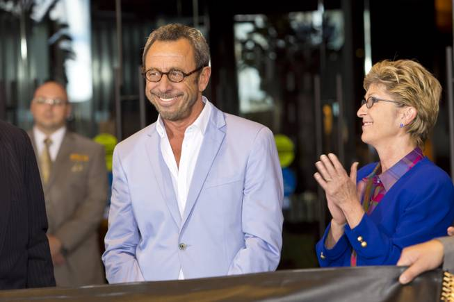 Nightlife mogul Victor Drai and Clark Counry Commissioner Chris Giunchigliani attend the ribbon-cutting ceremony at The Cromwell, Wednesday May 21, 2014. The Cromwell is the first stand-alone boutique hotel located on the Las Vegas Strip.