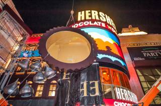 The 18-foot Reese's Peanut Butter Cup is installed at the entrance of Hershey's Chocolate World at New York-New York on Wednesday, May 21, 2014, in Las Vegas.