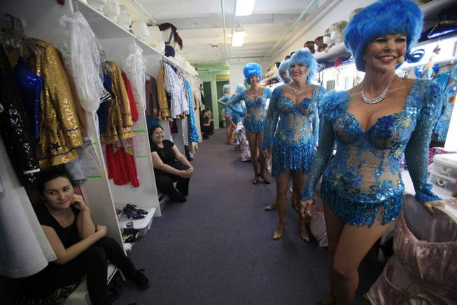 "Performers line up in the dressing room for the start of ""The Fabulous Palm Springs Follies"" in Palm Springs, Calif., on March 27, 2014."