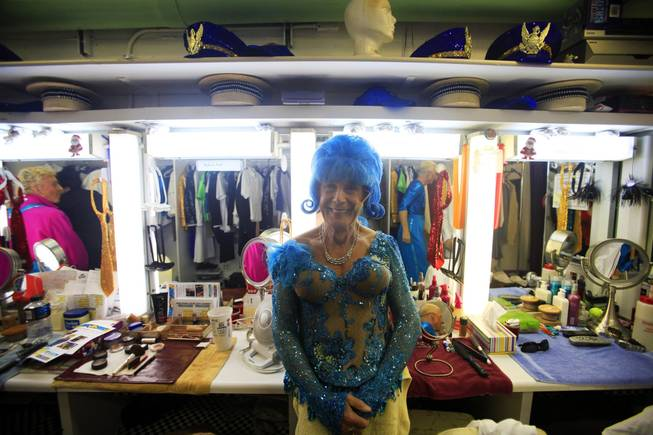 "Dick France, 84, waits in the dressing room for the start of ""The Fabulous Palm Springs Follies"" in Palm Springs, Calif., on March 27, 2014."
