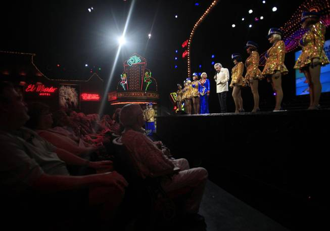"Follies impresario  and co-founder Riff Markowitz, center,  75, says goodnight to the audience after ""The Fabulous Palm Springs Follies"" in Palm Springs, Calif., on March 27, 2014."