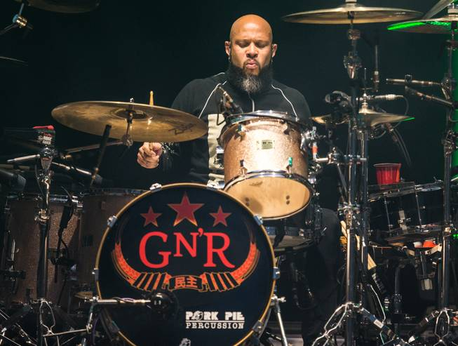 Frank Ferrer during Guns N Roses' An Evening of Destruction, No Trickery!, which marked their return to The Joint at Hard Rock Hotel & Casino to launch their second residency on Wednesday, May 21, 2014.