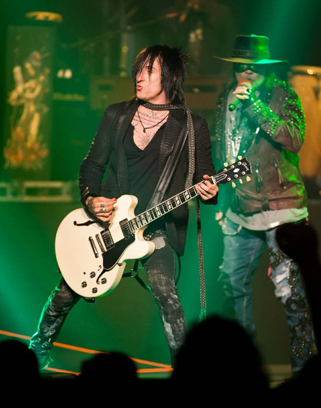 Richard Fortus performs during Guns N Roses' An Evening of Destruction, No Trickery!, which marked their return to The Joint at Hard Rock Hotel & Casino to launch their second residency on Wednesday, May 21, 2014.