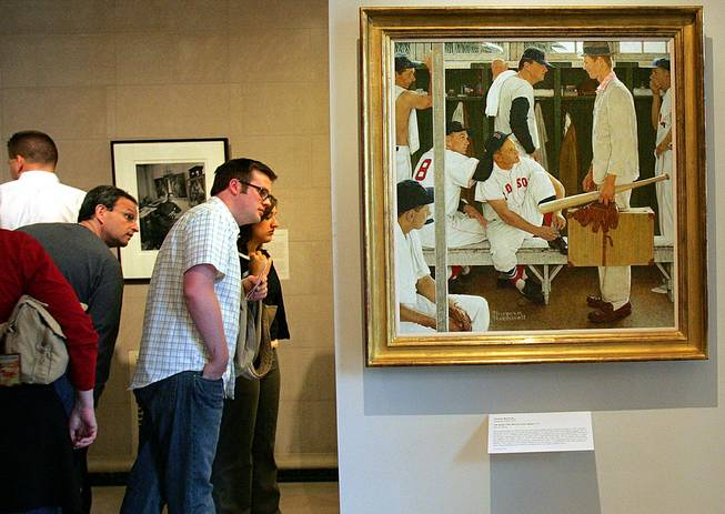 "In this April 26, 2005, file photo, Norman Rockwell's ""The Rookie"" is displayed during an exhibit of ""Rockwell and the Red Sox"" at the Museum of Fine Arts in Boston. ""The Rookie (Red Sox Locker Room)"" appeared on the cover of the March 2, 1957, issue of the Saturday Evening Post."