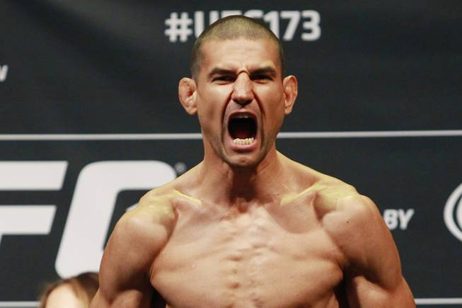 Vinc Pichel reacts to making weight during the weigh in for UFC 173 Friday, May 23, 2014 at the MGM Grand Garden Arena.