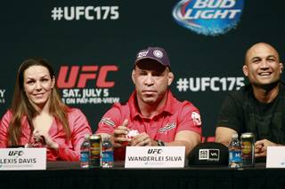 Alexis Davis, Wanderlei Silva and BJ Penn take part in a news conference to promote UFC 175 Friday, May 23, 2014 at the MGM Grand Garden Arena. UFC 175 will be held July 5th, 2014 at the Mandalay Bay Events Center.