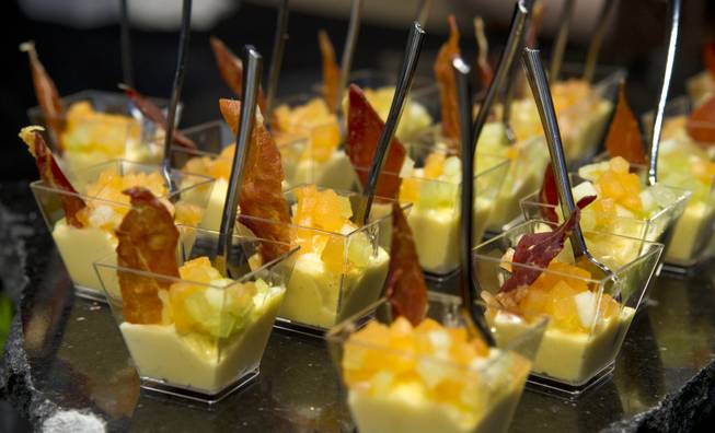 Culinary Arts Catering serves a smoked prosciutto vanilla bean ice cream Napolean during the Epicurean Affair presented by the Nevada Restaurant Association at the Palazzo on Thursday, May 22, 2014.