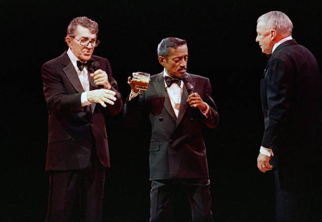 Dean Martin, Sammy Davis Jr. and Frank Sinatra are reunited at the Oakland Coliseum during their 29-city tour March 14, 1988, in Oakland, Calif.